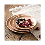 Huluwa Wood Serving Plate, Wood Round Serving Tray, Fruit Dessert Cake Snack ...