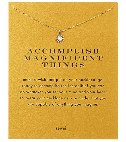 SEWEI Sun Necklace with Message Card(Silver-Plated Starburst) (Ring Starburst Adjustable)