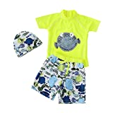 Boys Swimsuit Lovely Two Pieces Bathing Suit with Swimming Cap Fluorescent Green