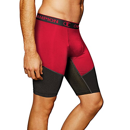 Champion Men's Power Flex Compression Shorts 9-inch_Champion Scarlet/Black_M