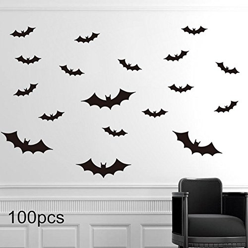 Halloween Party Decor ,Max-elf 3D Decorative Bats,Pumpkin Lantern,Witch,Wall Decal Wall Sticker,Halloween Eve Children's Room Decor (Flat bats)
