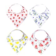"Baby Bandana Drool Bibs for Drooling and Teething 4 Pack Gift Set For Girls ""Georgia Set"" by Copper Pearl"