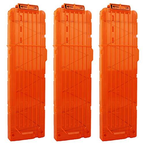 OIMIO 18-Darts Magazines Clips, 3 Pack 18 Darts Quick Reload Bullet Clips Magazine Clips for Nerf n-Strike Elite Blaster Transparent (Orange)