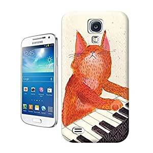 Unique Phone Case Ginger cat playin piano card Hard Cover for samsung galaxy s4 cases-buythecase