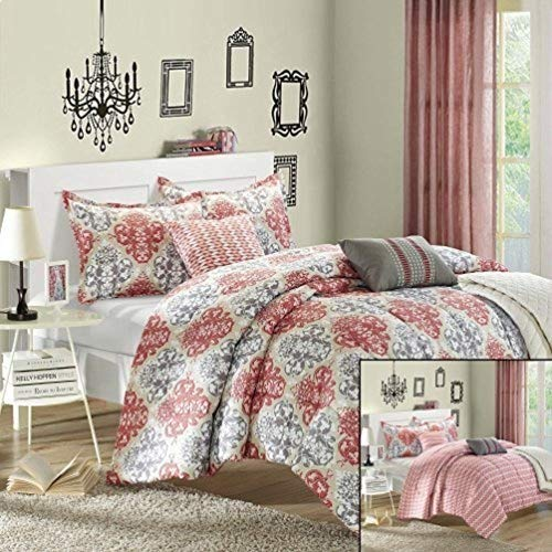 - Chic Home Venetian 6-Piece Luxury Reversible Comforter Set with Quilt, Shams and Decorative Pillows, King Size, Printed