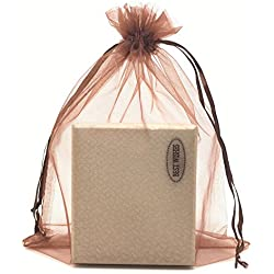 "SUNGULF 100pcs Organza Pouch Bag Drawstring 6""x9"" 16x22cm Strong Gift Candy Bag Jewelry Party Wedding Favor (Brown)"