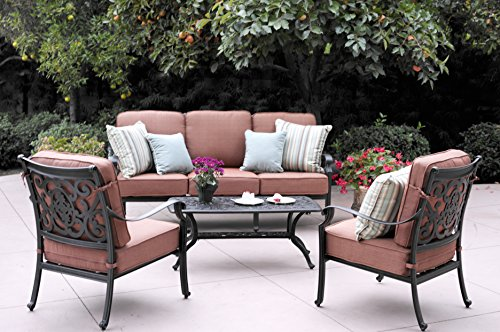 Darlee St. Cruz Cast Aluminum 4 Piece Conversation Set with Seat & Back Cushions, Antique Bronze Finish - Weather-resilient cast aluminum construction. Powder-coated with elegant multi-step hand finish Nylon glides on all legs. Spicy chili-colored seat and back cushion made of 100% polyester Club chairs and sofa fully welded - patio-furniture, patio, conversation-sets - 51UBHXrlZgL -