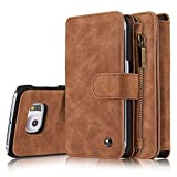 Galaxy S6EdgePlus Luxury Leather Wallet Case for Samsung Galaxy S6 Edge Plus G9280,Multi-function 2 in 1 Detachable Zipper Design Magnetic Leather Folio Flip Wallet Stand Cover with Card Slots (Brown)