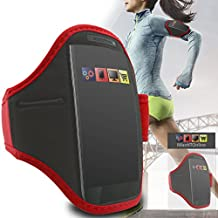 IWIO Alcatel iDol 4 Red Black Premium Adjustable Velcro Strap Armband Phone Case Holder for Jogging / Running / Fitness / Gym Workouts / Outdoor Sports includes Money Pocket