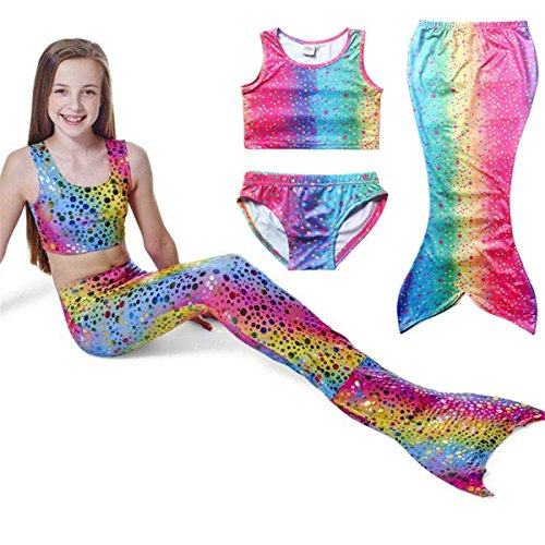 PGXT Girl's 3pcs Mermaid Tail Rainbow Princess Bikini Swimsuit Swimwear Blue 140CM