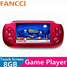 Fancci® T8 4.3'' LCD Touch Screen 8GB 32bit Li-On Battery MD/NES/Mame Portable Handheld Video Game Player MP4 MP5 MP3 Kids Toys Gift-RED