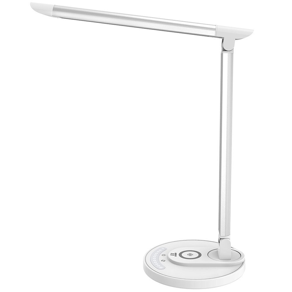 TaoTronics LED Desk Lamp with Wireless Charging, Standard Charge for iPhone X/8/8 Plus/Nexus/Xperia & Fast Charge for Galaxy S8/S8+/S7/S7 Edge, 5 Modes & 7 Brightness Levels, USB Port