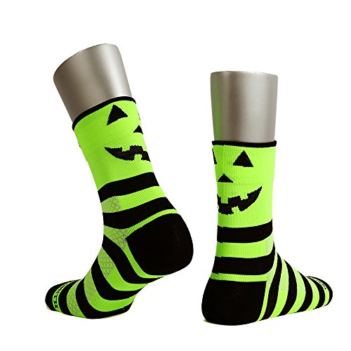 Sooty Smith Quarter Cycling Lycra Easycool Halloween Lightweight Unisex Socks (S = Size 9.5 (US Men Shoes 6-8.5 = Women 7-9.5), Halloween Neon 1pair (Pumpkin Cut Outs Halloween)