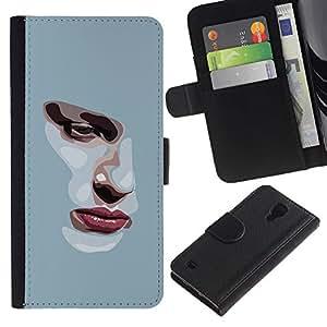 Billetera de Cuero Caso Titular de la tarjeta Carcasa Funda para Samsung Galaxy S4 IV I9500 / Girl Depression Sad Heartbreak Grey / STRONG