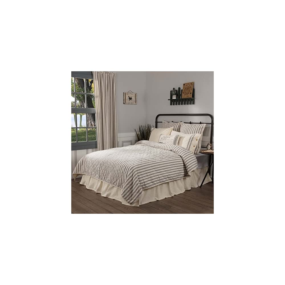 """Market Place Ticking Stripe Quilt, Queen, 90"""" x 90"""", Gray & Cream Quilted Modern Country Farmhouse Style Bedding"""