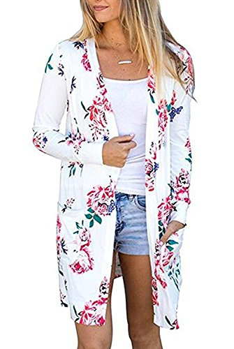 EIFFTER Women Boho Long Sleeve Floral Print Blouse Cardigan Casual Kimono Wrap Coverup Tops Outwear (Medium, (Floral Long Sleeve Cardigan)
