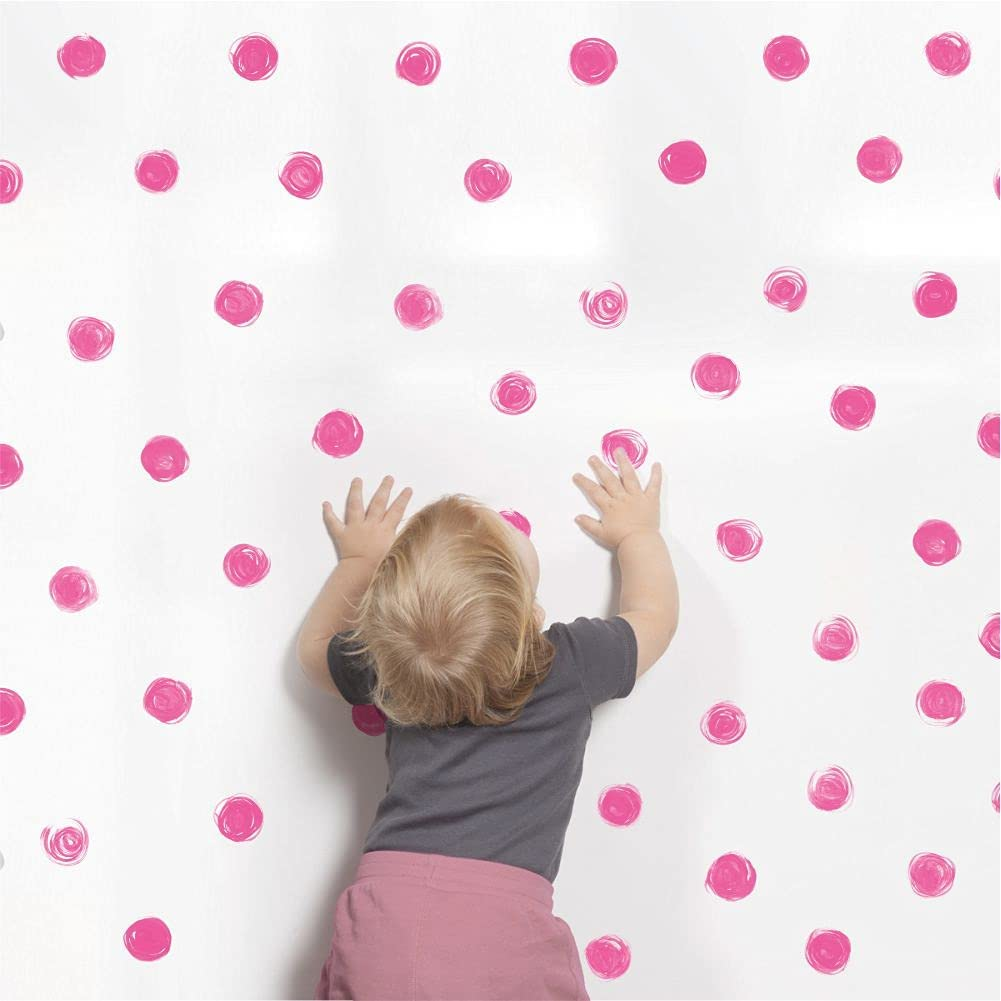 """Watercolor Pink Polka Dot Wall Decals 2.4""""  Wall Decal Dots  Bedroom Wall Decor  Round Circle Stickers For Walls Decoration  Kids Wall Decals  Wall Stickers & Murals  Gold Wall Decor  Vinyl Polka Dot Décor"""