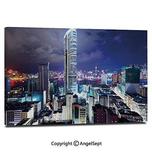 Canvas Prints Modern Art Framed Wall Mural Downtown in Hong Kong Urban View at Night High Rise Buildings Modern Business District Wall Decorations for Living Room Bedroom Dining Room Bathroom Office