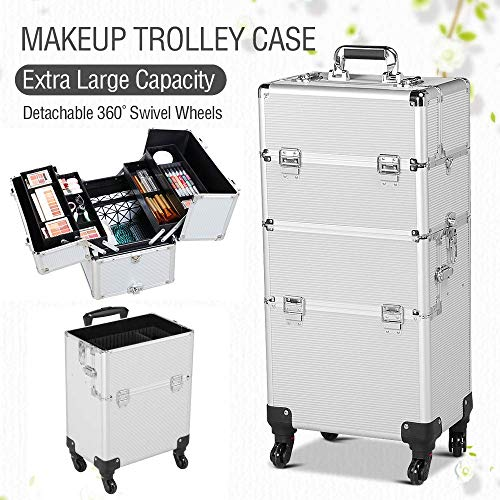 Yaheetech 2-wheel 3-in-1 Professional Multifunction Artist Rolling Trolley Makeup Beauty Train Case Cosmetic Organizer W/shoulder Straps (Silver)