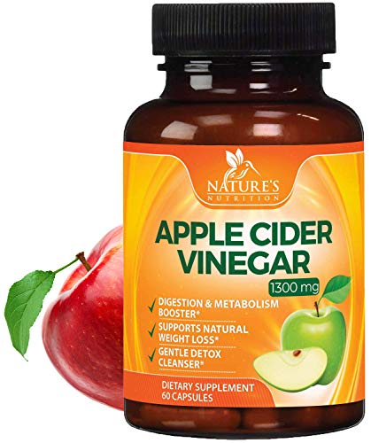 100% Natural Raw Apple Cider Vinegar Pills - Highest Potency 1300mg - Weight Loss Appetite Suppressant, Made in USA, Best Vegan ACV, Metabolism Fat Burner & Detox Cleanse Supplement - 60 Capsules