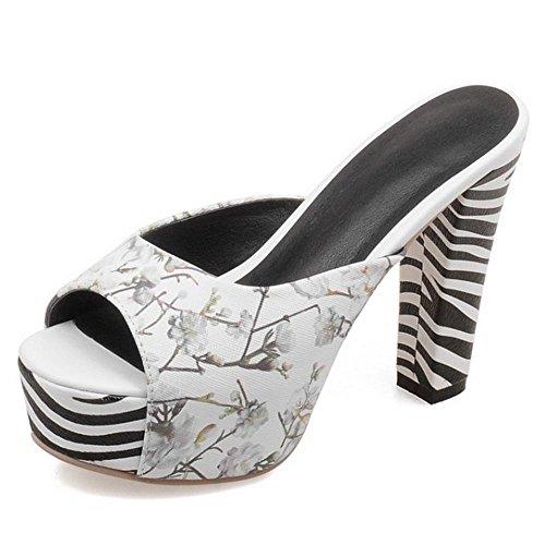 LongFengMa Women's Floral Print Block High Heel Sandals Peep Toe Platform Shoes White IJxF5Hc8