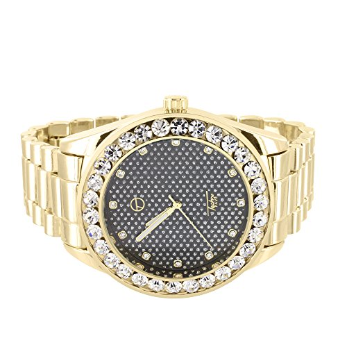Techno Pave President Style Watch Gold Tone Black Dial Solitaire Simulated Diamond