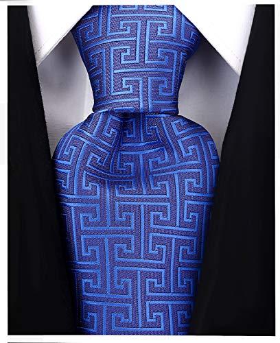 Geometric Greek Key Ties for Men - Woven Necktie - Blue w/Blue