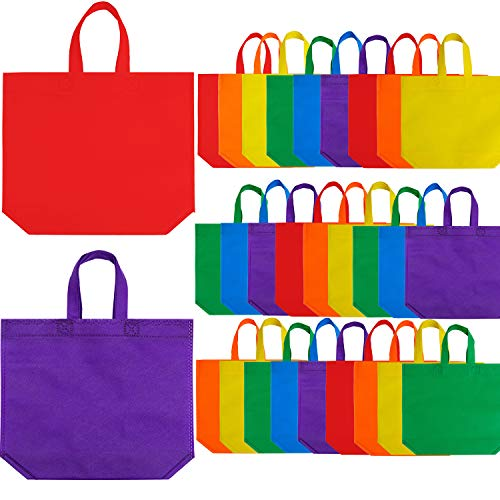 Aneco 24 Pieces 15 by 12.5 Inches Non-Woven Bags Gift Bag Goodie Bottom Treat Bag Party Non Woven Bag with Handles for Party Favor, 8 Colors
