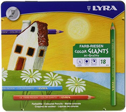 Lyra 3941181 Color Giants Drawing Pencil, Hexagonal, Non-Toxic, 10 mm Diameter x 17.5 cm L, 6.25 mm Tip, Assorted Matte Color (Pack of - Colors Hexagonal