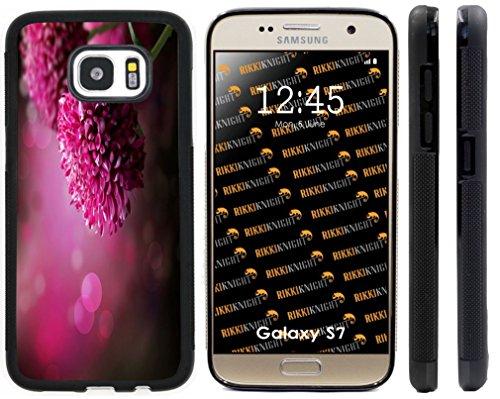 Black Case Dahlia (Rikki Knight Purple Dahlia Autumn Flower Design Case Cover for Samsung Galaxy S7 - Black)