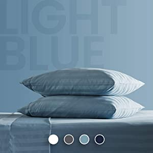 SLEEP ZONE Striped Bed Sheet Sets 120gsm Luxury Microfiber Temperature Regulation Sheets Soft Wrinkle Free Fade Resistant Easy Care (Stone Blue, King)