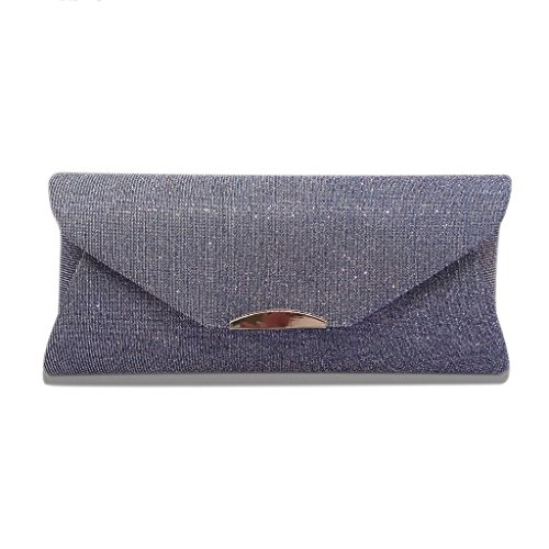 Dabixx Women Evening Shoulder Bag Pochette da sposa Prom Party Wedding Envelope Handbag Deep Grey Grigio Chiaro
