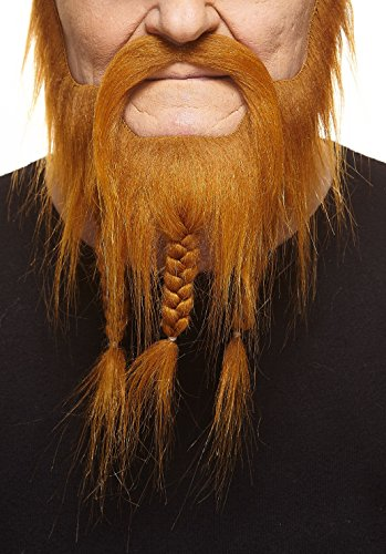 Mustaches Self Adhesive, Novelty, Braided, Captain Fake Beard and Fake, Ginger Color