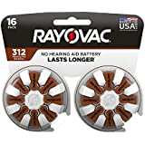 RAYOVAC Size 312 Hearing Aid Batteries, 16-Pack