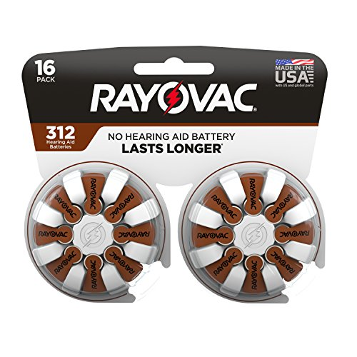 Rayovac Hearing Aid Batteries Size 312 for Advanced Hearing Aid Devices (16 Count)