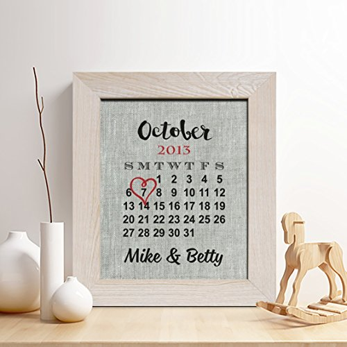 Personalized 4th Linen Anniversary Gift for Him or Her, Wedding Date Calendar Linen Print, Gifts for Husband and Wife, 4 Years Together Romance Calendar