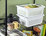 organizing a pantry  16648006 Large White Stacking Basket with Titanium Accents, 12-Pack