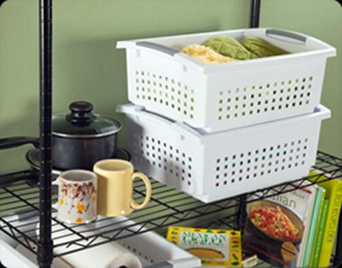 16648006 Large White Stacking Basket with Titanium Accents, 12-Pack
