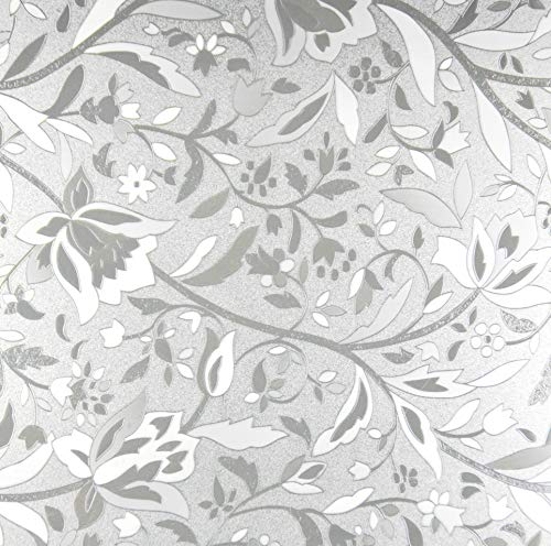 Designer Floral Glass Privacy Window Film Series 5, Self Adhesive Static Cling