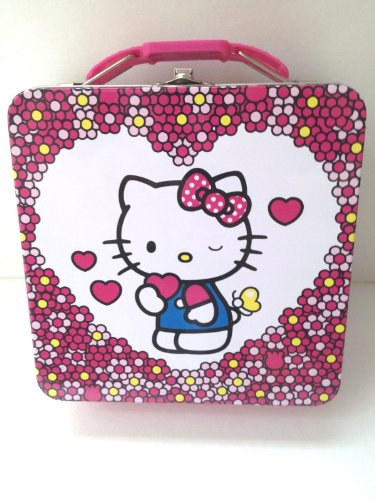 (Hello Kitty Pink Metal Lunch Box with Hearts Flowers Full Color Special)