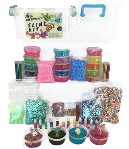 Fruit Extreme (DIY Crystal Slime Kit- Make Unicorns on Fluffy Cloud Slime, Mermaid Tail Slime, 15 Cups Slime with Supplies- Foam Balls, Crunchy Fishbowl Beads, Glitter Bottles, Fruit Slices)