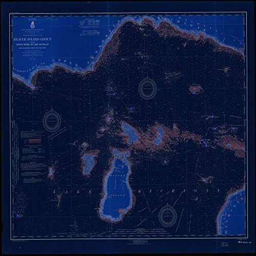 Vintography Blueprint Style 8 x 12 Reprint of 1917 Nautical Chart Beaver Island Group Including North Shore of Lake Michigan from WAUGOSHANCE Point to SEUL CHOIX Point by Lake Survey MI