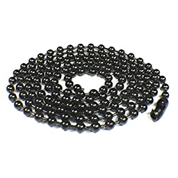 Ball Chain Black Stainless Steel 3.2mm Bundle with 2.4MM Black Ball Chain Kidney Type Clasp