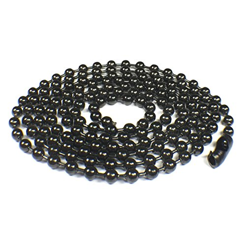 Black Oxide Stainless Steel Ball Chain Necklace - 3.2mm, 29.5