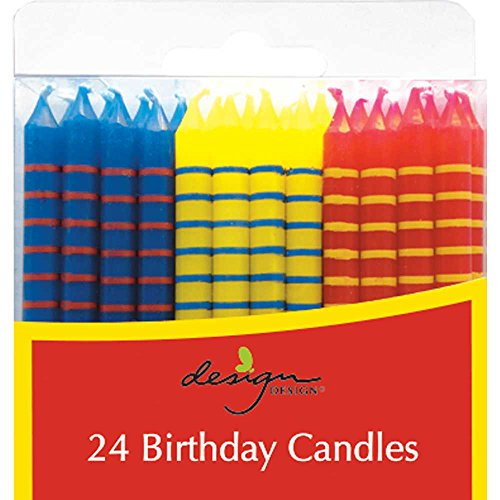 JAM PAPER Birthday Candle Sticks - 2 3/8 x 1/4 - Blue, Yellow & Red with Stripes - 24/pack ()