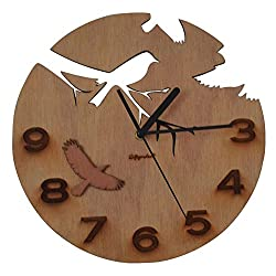 Giftgarden Wood Wall Clocks Bird Decor for Garden Decorations