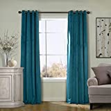 COFTY Super Soft Solid Matt Velvet Curtain Drapes Everglade Teal 50Wx63L Inch (1 Panel) - Nickle Grommet - BIRKIN Collection School| Theater| Bedroom| Living Room| Hotel