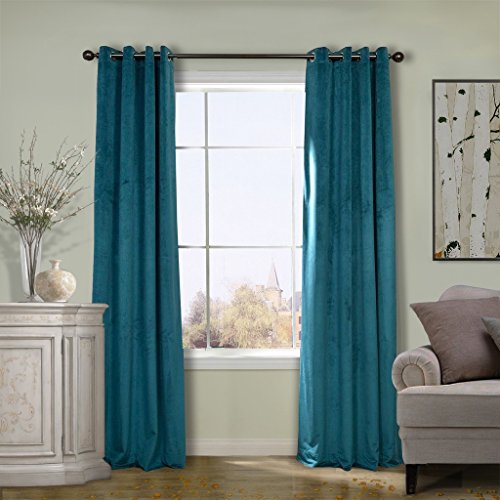 COFTY Solid Matt Luxury Heavyweight Velvet Curtain Drape with Blackout Thermal Lining Everglade Teal 50Wx120L Inch(set of 2 panels) - Nickle Grommet (Black Solid Drapes Denim)