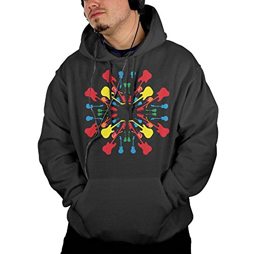 Price comparison product image Obachi Mix Round Color Guitar Men's Long Sleeve Pullover Pocket Hooded Sweatshirt Black Size M