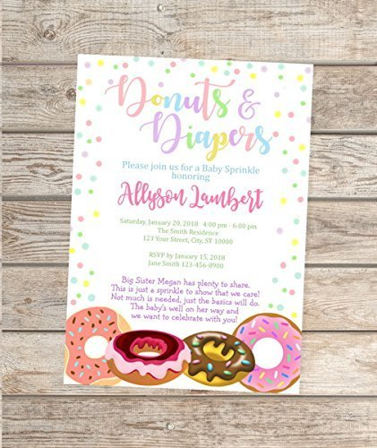 Donuts And Diapers Invitations, Donuts and Diapers Baby Sprinkle Invitation, Custom Donuts Baby Shower Invites